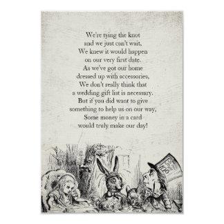 Vintages Alice im Wunderland-Geschenk-Gedicht 8,9 X 12,7 Cm Einladungskarte