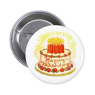 Vintages alles- Gute zum Geburtstagkuchen-Button Runder Button 5,7 Cm