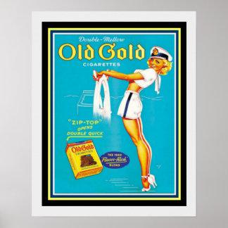 Vintages altes Goldzigaretten-Anzeigen-Plakat 16 x Poster