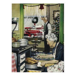 Vintages altmodisches Zuhause-Küchen-Weihnachten Postkarte