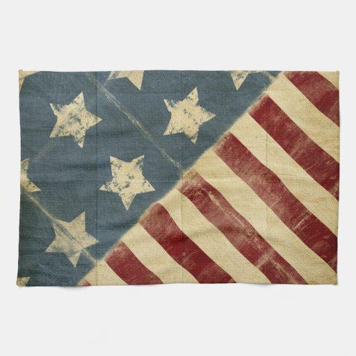 Vintages amerikanische Flaggen-Küchen-Tuch Handtuch | Zazzle