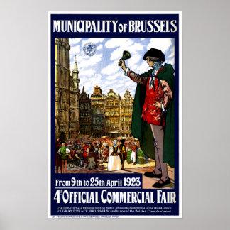 Vintages angemessenes Plakat Belgiens Brüssel