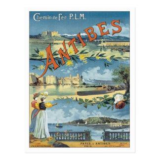 Vintages Antibes Mittelmeer Postkarte