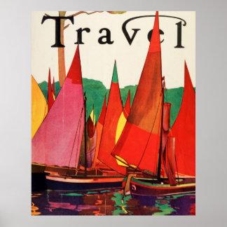 Vintages antikes Italien-Reise-Zeitschriften-Fisch Plakate