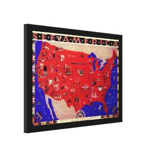 Vintages antikes Karten-USA, USA Leinwanddruck