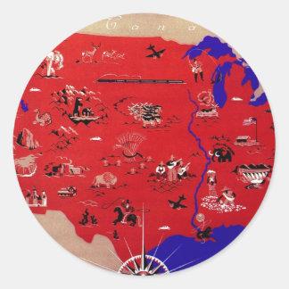 Vintages antikes Karten-USA, USA Runder Aufkleber