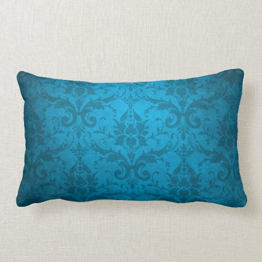 vintages aqua blaue damast tapete kissen zazzle. Black Bedroom Furniture Sets. Home Design Ideas