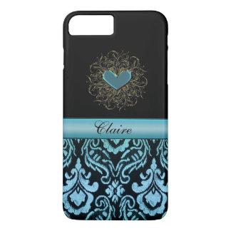 Vintages Aqua-Damast-Herz personalisierter iPhone iPhone 8 Plus/7 Plus Hülle
