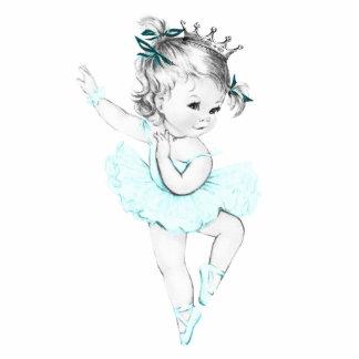 Vintages aquamarines blaues Mädchen Ballerina-Prin Freistehende Fotoskulptur