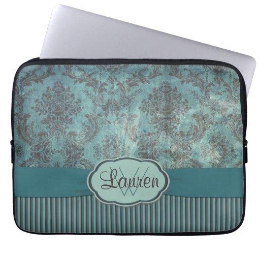 Vintages aquamarines Damastmonogramm Laptop Computer Schutzhüllen