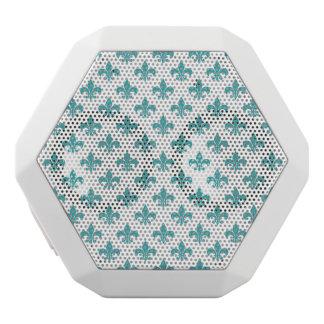 Vintages aquamarines Lilienmuster Weiße Bluetooth Lautsprecher
