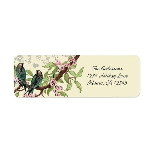 Vintages aquamarines Vogel-Rosa-blühende Rücksendeetiketten
