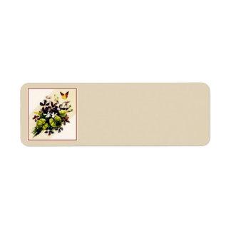 Vintages Art-Land-Blumenszenen-Adressen-Etiketten