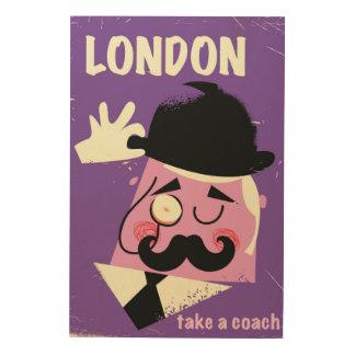 Vintages Artlondon-Geschäftsmannreiseplakat Holzwanddeko