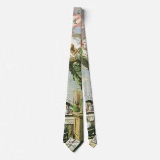 Vintages Atlas-Frontispiz, Weltkugel Bedruckte Krawatte