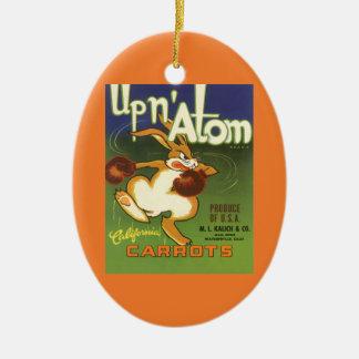 Vintages Aufkleber-Kunst-Verpacken-Kaninchen, Ovales Keramik Ornament