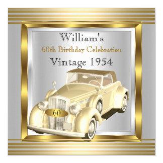 Vintages Auto bemannt 60. Geburtstags-Party-Gold Quadratische 13,3 Cm Einladungskarte