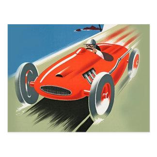 Vintages Auto, das Postkarten läuft