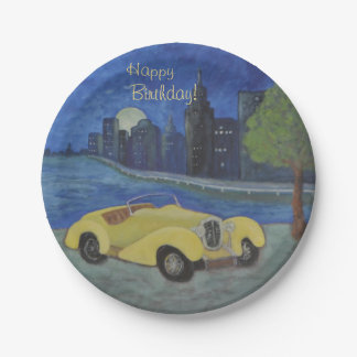 Vintages Auto in der Stadt Pappteller
