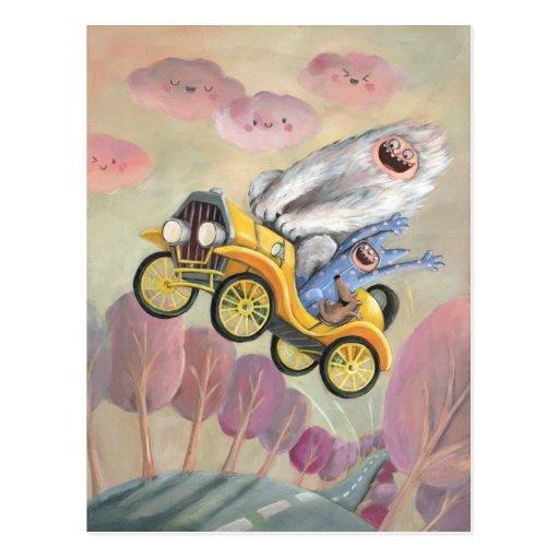 Vintages Auto mit Monstern Postkarten