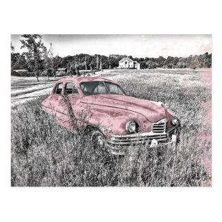 Vintages Auto mit rosa Akzenten Postkarten