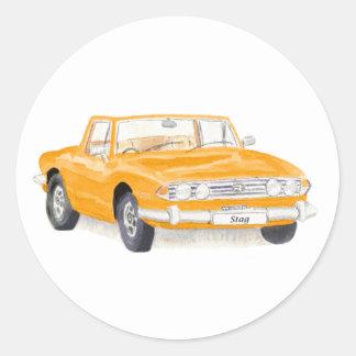 Vintages Auto, Triumph-Hirschaufkleber, orange Runder Aufkleber