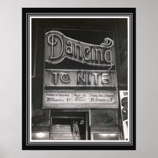 Vintages B&W Tanz-Hall-Plakat 16 x 20 Poster