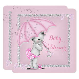 Vintages Baby-Duschen-Mädchen-hübscher rosa Karte