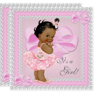 Vintages Baby-Duschen-Mädchenhübscher rosa Tutu Karte