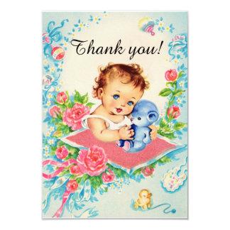 """Vintages Baby-Mädchen """"danken Ihnen"""" Karten Karte"""