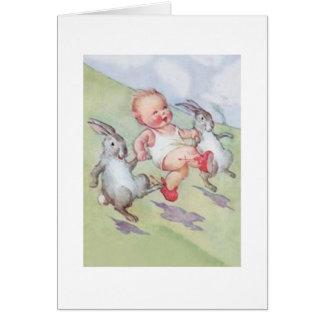 Vintages Baby und Osterhasen-Ostern-Karte Karte