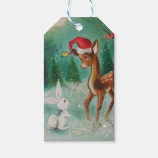 Vintages Baby-Weihnachten lieb und Häschen Geschenkanhänger
