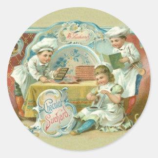 Vintages Backen mit Schokoladen-Werbung Runder Aufkleber