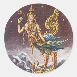 Vintages Bangkok Thailand Runder Aufkleber