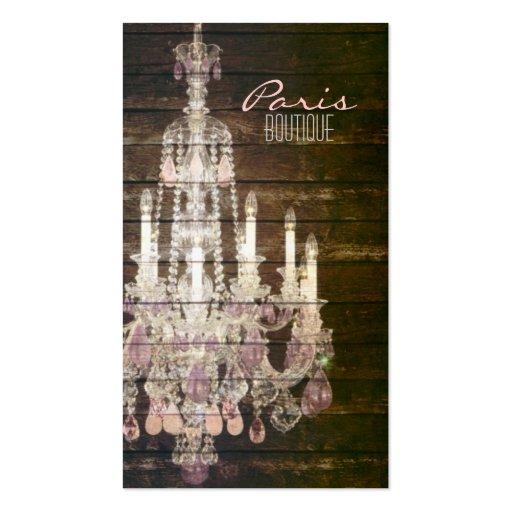 Vintages barnwood lila Leuchter-Paris-Mode Visitenkarten Vorlage