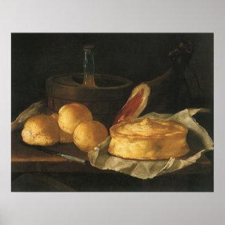 Vintages Barock-noch Leben mit Brot, Törtchen, Poster