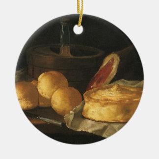 Vintages Barock-noch Leben mit Brot, Törtchen, Rundes Keramik Ornament