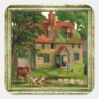 Vintages Bauernhof-Haus Quadratischer Aufkleber