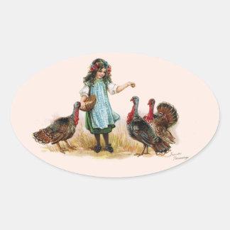 Vintages Bauernhof-Mädchen u. Ovaler Aufkleber