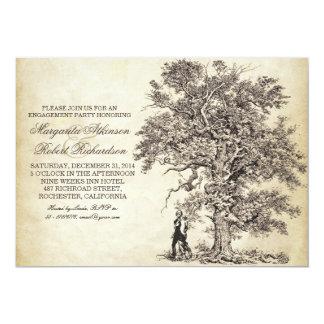 Vintages Baum- und Paar-Verlobungs-Party lädt ein 12,7 X 17,8 Cm Einladungskarte