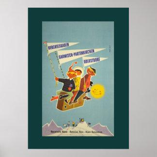 Vintages bayerisches Alpen-Reise-Plakat Poster