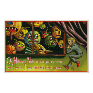 Vintages beängstigendes Kürbis-Party-Dekorplakat Poster