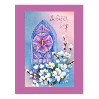Vintages beflecktes Glasfenster-Ostern-Gebet Postkarte