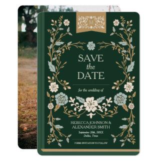 Vintages Bibliotheks-Buch Save the Date Karte