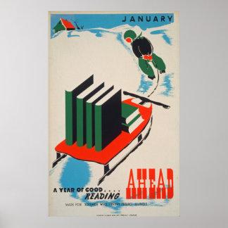 Vintages Bibliotheks-Plakat Poster