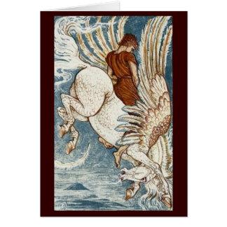Vintages Bild - Bellerophon auf Pegasus Karte
