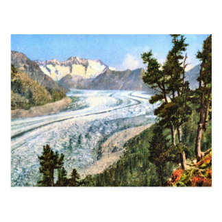 Vintages Bild, Jungfrau Gletscher Bernese Oberland Postkarte