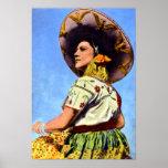 Vintages Bild von Senorita in der traditionellen T Poster