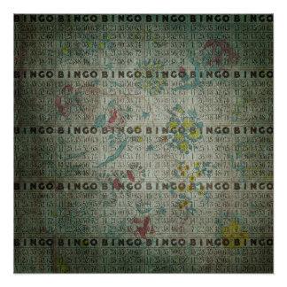 Vintages Bingo kardiert Blumen Poster