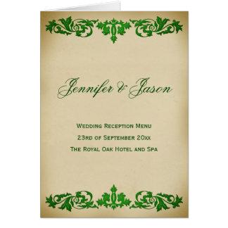 Vintages Blatt-Rolle-Art-Hochzeits-Menü im Grün Karte